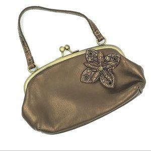 Handbags - Small bronze bag with flower